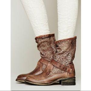 Free People Brown Crochet Beau Boot Size 6
